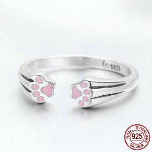 Paw print adjustable ring 925 silver