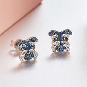 Brand new doggy stud earrings 925 silver and cubic zirconia