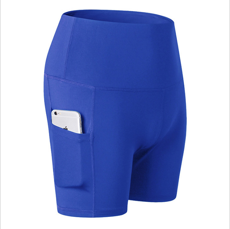 60% OFF -High Waist Workout Running Yoga Shorts Tummy Control Side Pockets