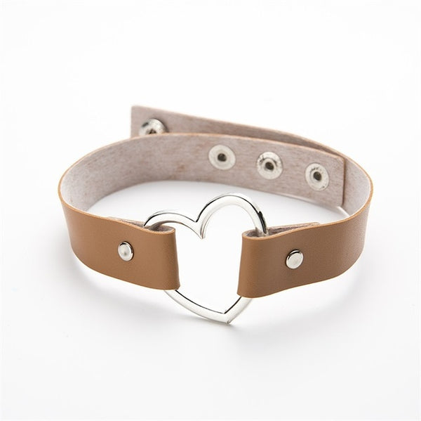 Meajoe Sexy Punk Gothic Leather Heart Studded Choker
