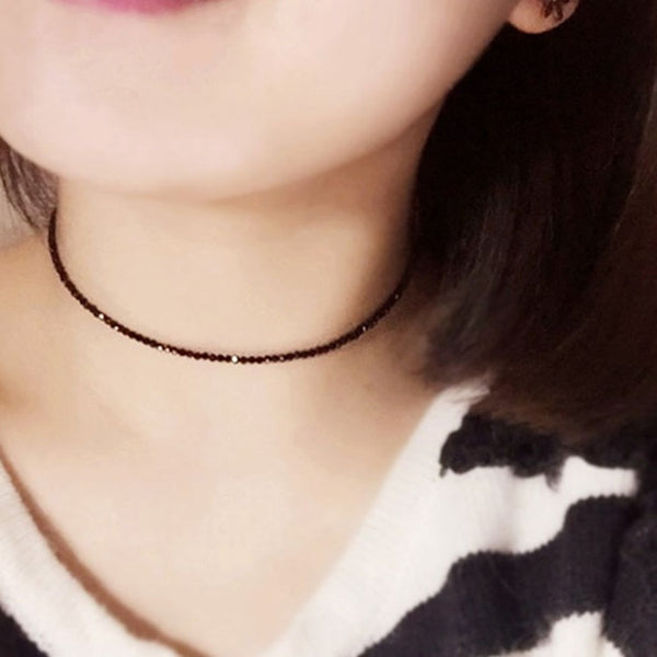 Simple Black Beads Short Necklace