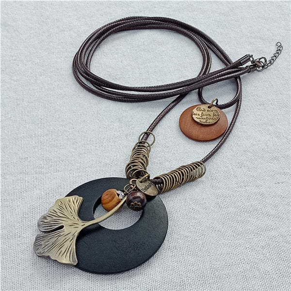 Vintage Multilayer Rope Leather Pendant Necklace