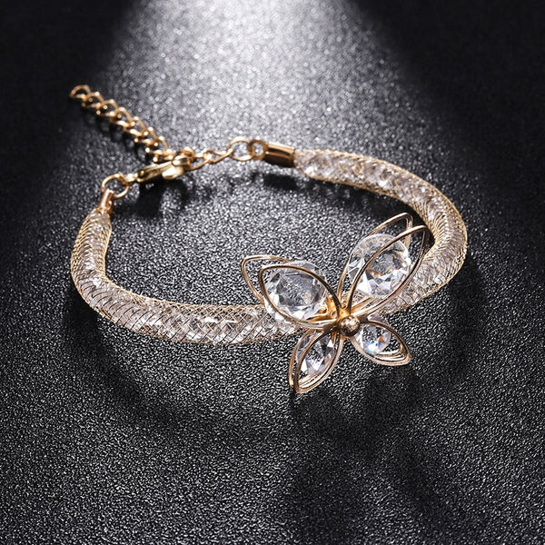 Butterfly Flower Elasticity Cuff Wrap Bracelets For Women Jewelry