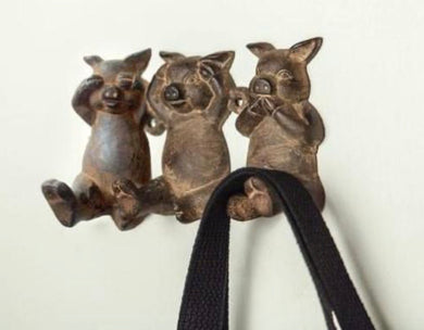Three Little Piggies Cast Iron Wall Hook