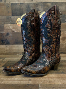 Women's Corral Brown Jute Inlay Studded Boots