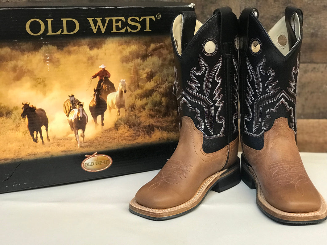 Kid's Old West Brown & Black Square Toe Boot