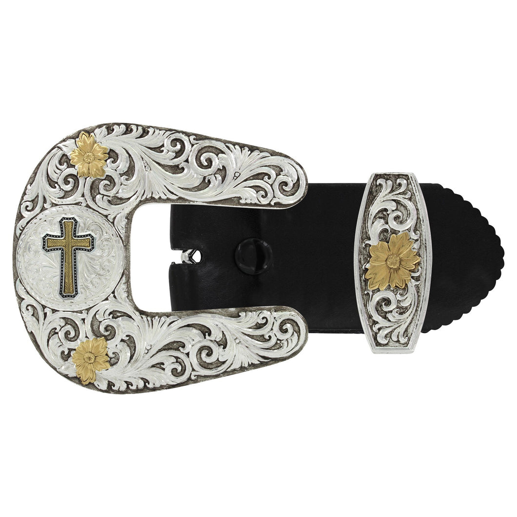 Montana Silversmiths Two Tone Antiqued Cross Buckle Set