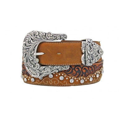 Women's Tony Lama Brown Kaitlyn Crystal Belt