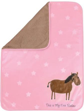 Baby's First Rodeo Pink Fur Fleece Blanket