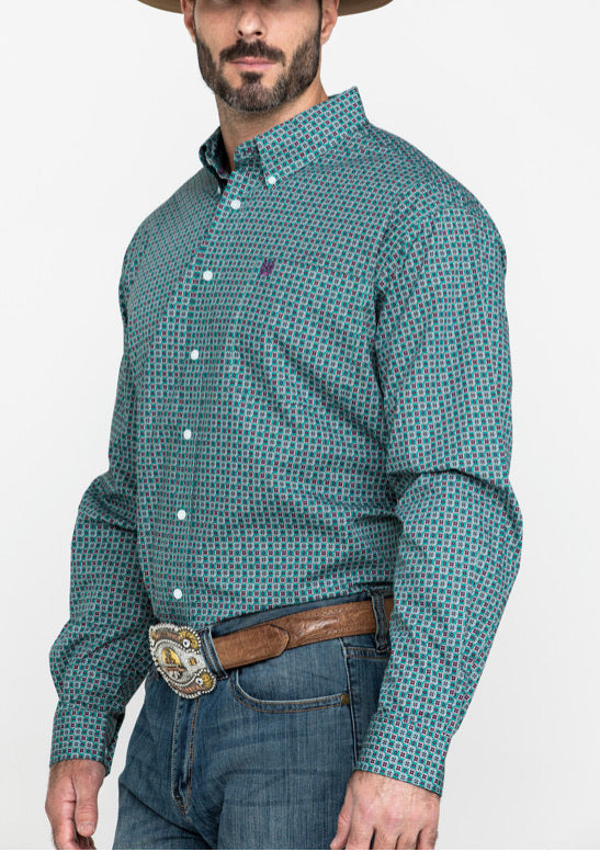 Men's Cinch Long Sleeve Shirt MTW1104994 Green/Purple