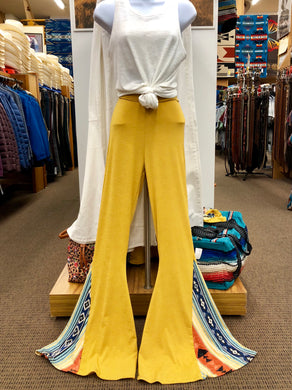 Women's Lucky & Blessed Mustard Flare Stretch Pants