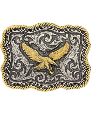 Montana Silversmiths Two Tone Twisted Rope Soaring Eagle Attitude Buckle