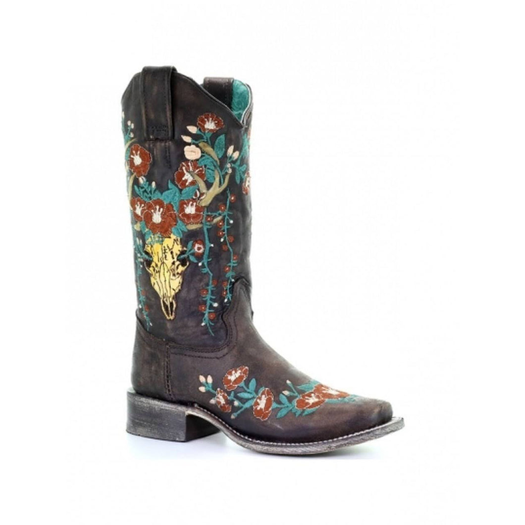 Women's Corral Brown Deer Skull Overlay Boots