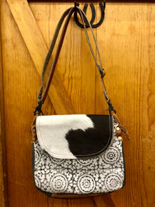 Myra Black, White, & Brown Canvas & Cowhide Purse