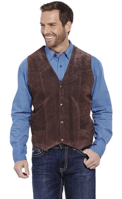 Men's Cripple Creek Chocolate Suede Leather Vest
