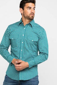Men's Wrangler Long Sleeve Shirt MWR361M Turquoise