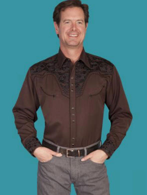 Men's Scully Long Sleeve Shirt P-634 Chocolate