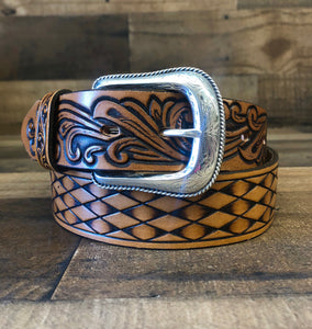 Men's Justin Tan Tooled Leather Belt