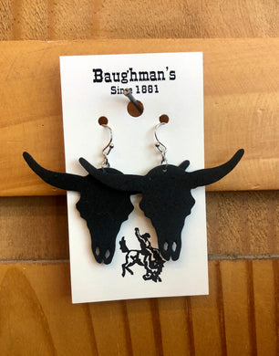 Women's Black Longhorn Skull Leather Earrings