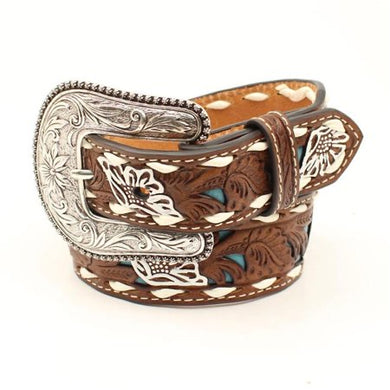 Kid's Nocona Brown Embossed with Turquoise Inlay Belt