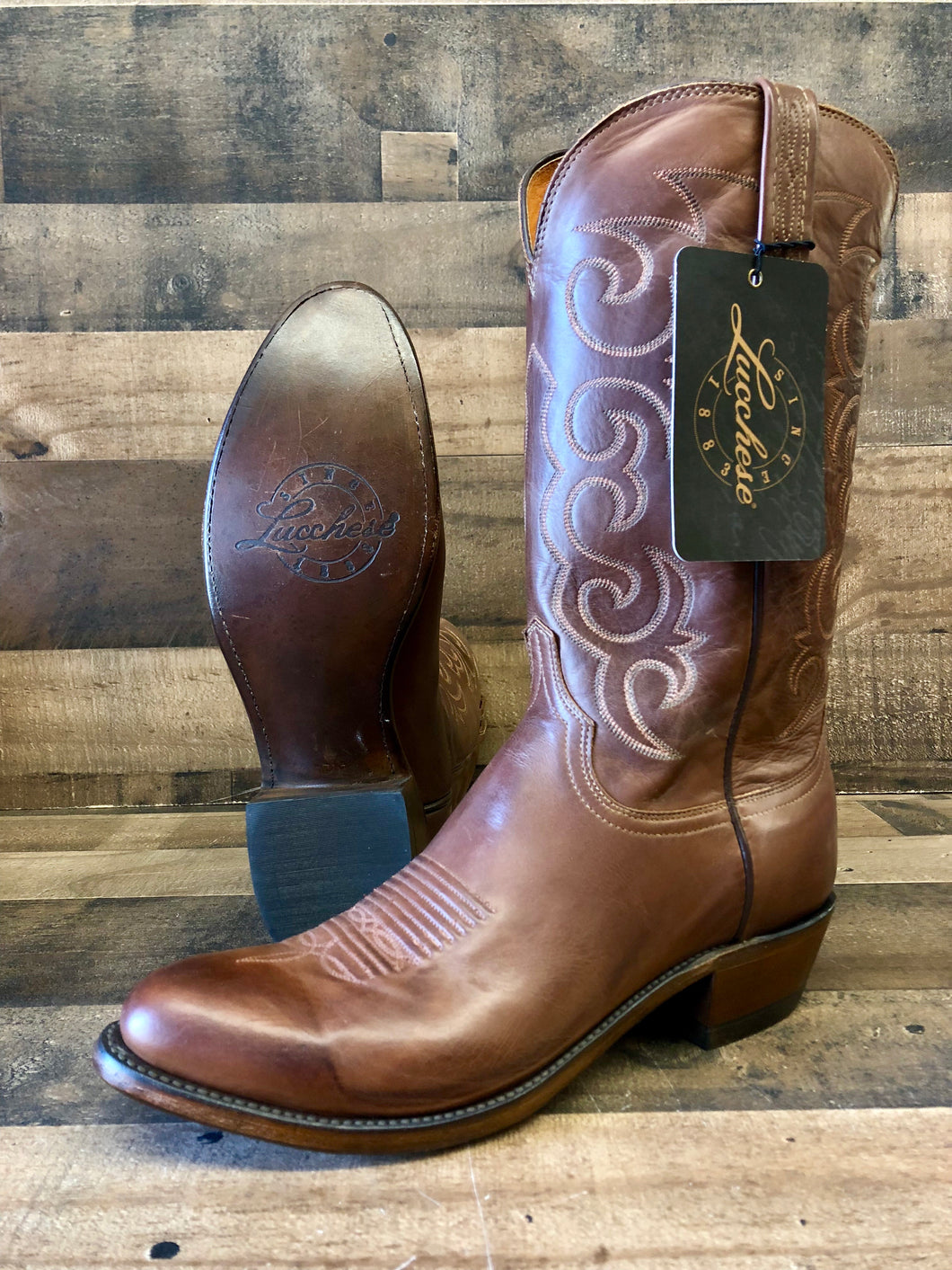 Men's Lucchese Tan Burnished Jersey Calf Boot