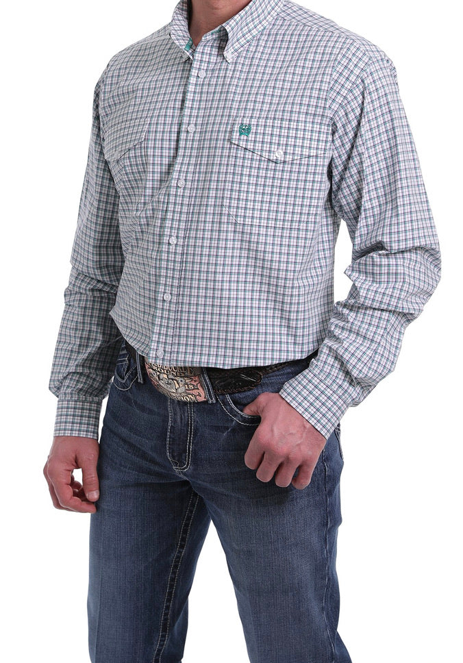 Men's Cinch Long Sleeve Shirt MTW1107123 White/Purple/Turquoise