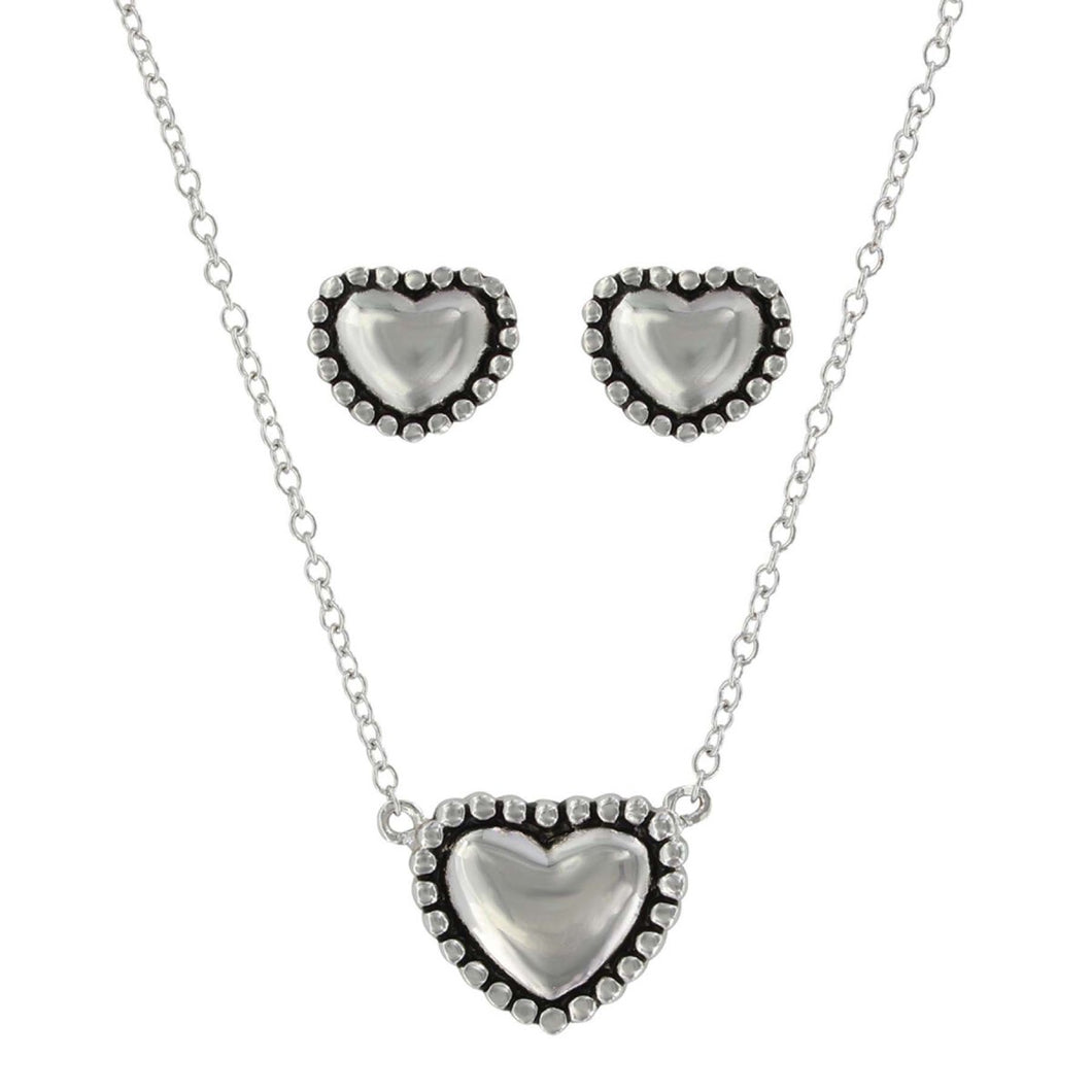 Montana Silversmiths Beaded Puffy Heart Jewelry Set
