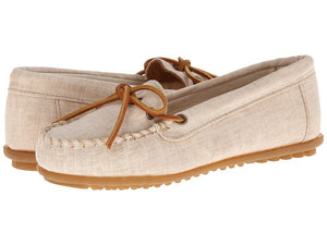 Women's Minnetonka Canvas Natural Moccasin