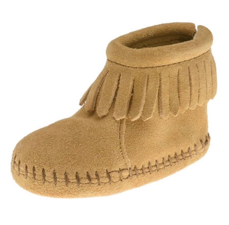 Minnetonka Back Strap Bootie Tan Baby Moccasins
