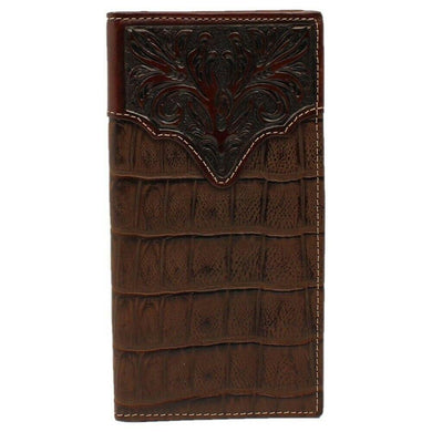 3D Belt Co Chocolate Croc Print with Tooled Accent Rodeo Wallet