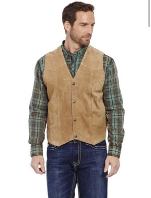 Men's Cripple Creek Light Brown Suede Leather Vest