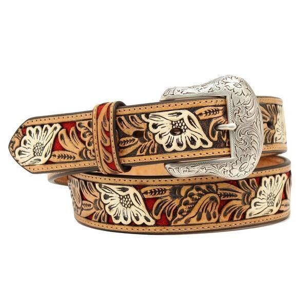Men's Nocona Leather Embossed Floral Belt
