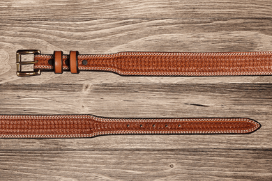 Men's Texas Saddlery Tapered Saddle Tan Spider Belt