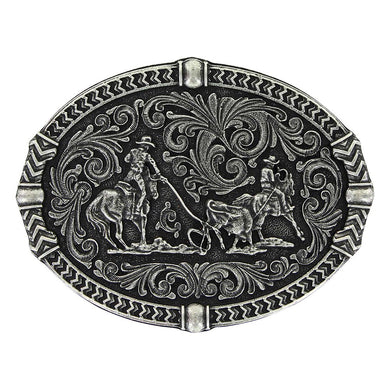 Montana Silversmiths Antiqued Tread Team Roper Attitude Buckle