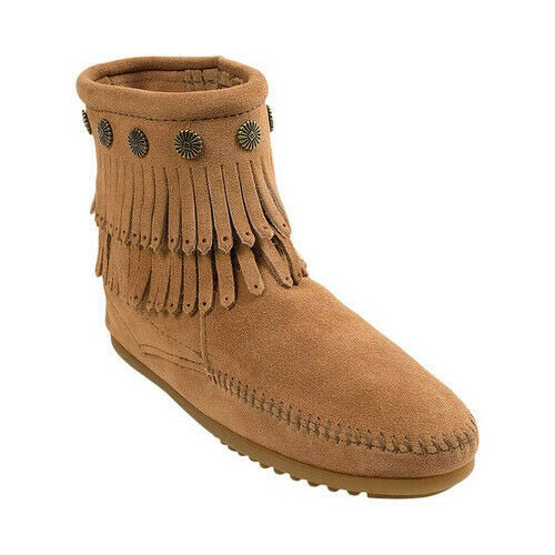 Women's Minnetonka Taupe Double Fringe Side Zip Boot