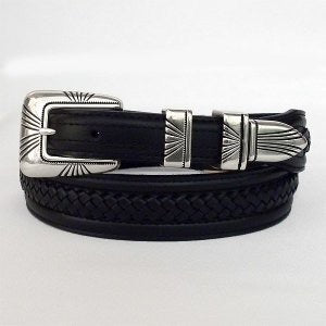 Men's Tony Lama Black Tenaya Center Lace Belt