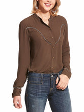 Load image into Gallery viewer, Women's Ariat Wellton Banyan Bark Long Sleeve Snap Top