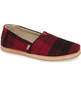 Women's Toms Classic Red Plaid Felt on Leather