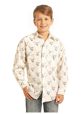 Boy's Rock & Roll Skull Print Snap Front Long Sleeve Shirt