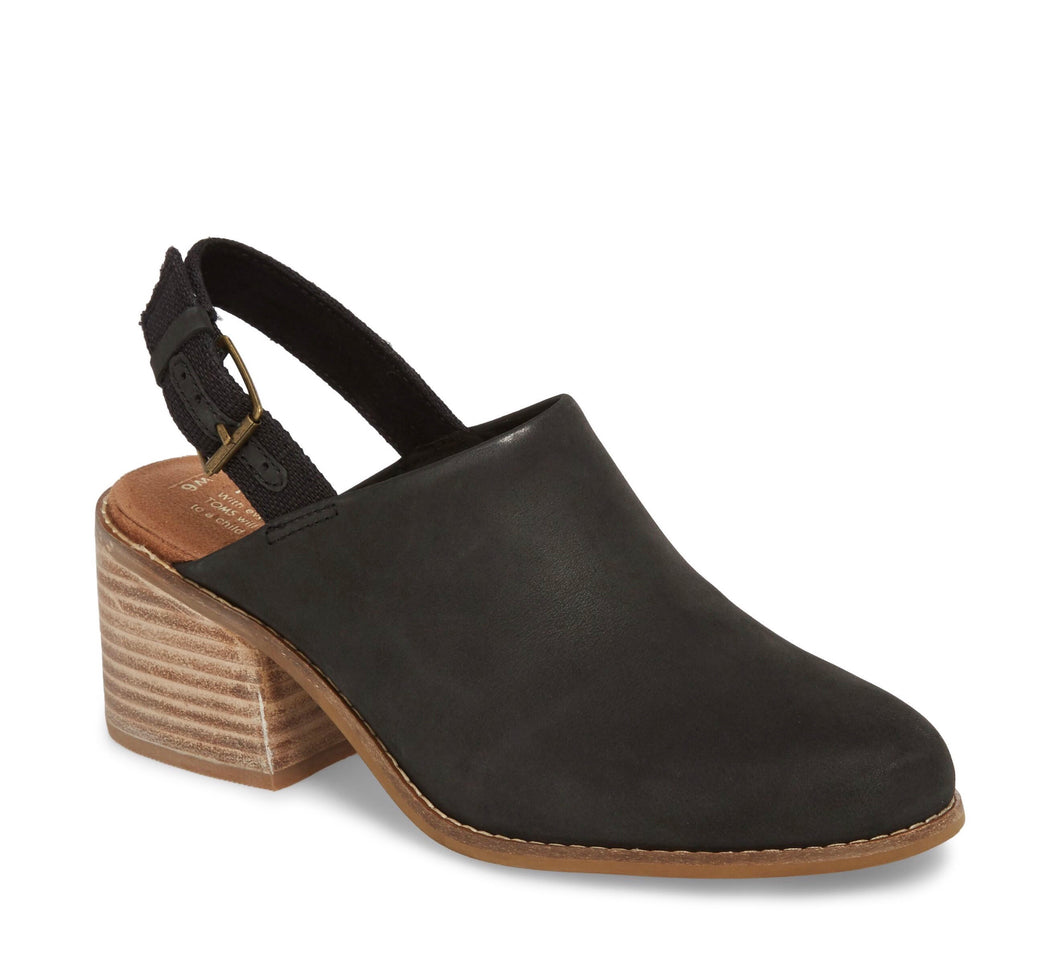 Women's Tom's Leila Slingback Black Leather Bootie