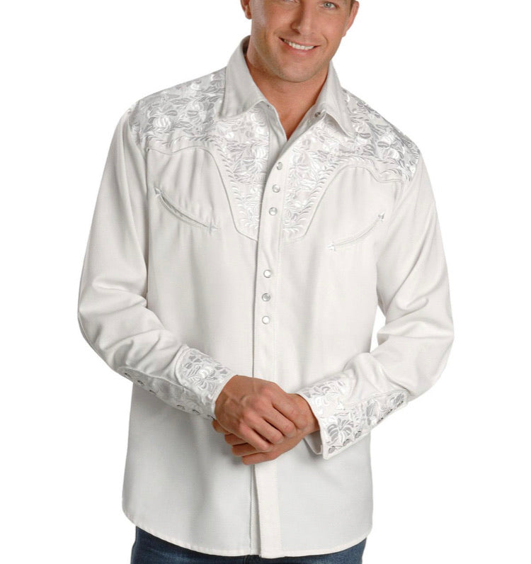 Men's Scully Long Sleeve Shirt P-634 White