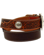 Load image into Gallery viewer, Men's Ariat Floral Embossed Brown Belt