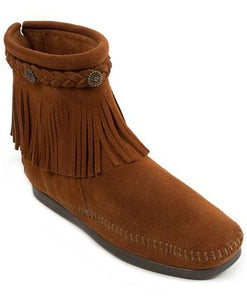Women's Minnetonka Brown High Top Back Zip Boot