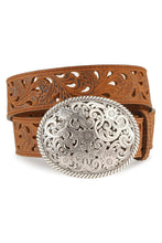 Load image into Gallery viewer, Women's Tony Lama Brown Pierced Filigree Belt