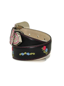 Kid's Blazin Roxx Floral Embroidered Black Belt