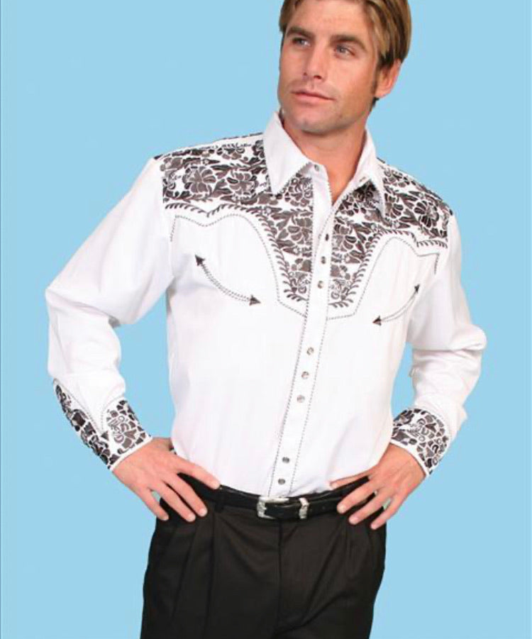 Men's Scully Long Sleeve Shirt P-634 Pewter