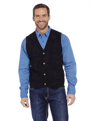 Men's Cripple Creek Black Suede Leather Vest