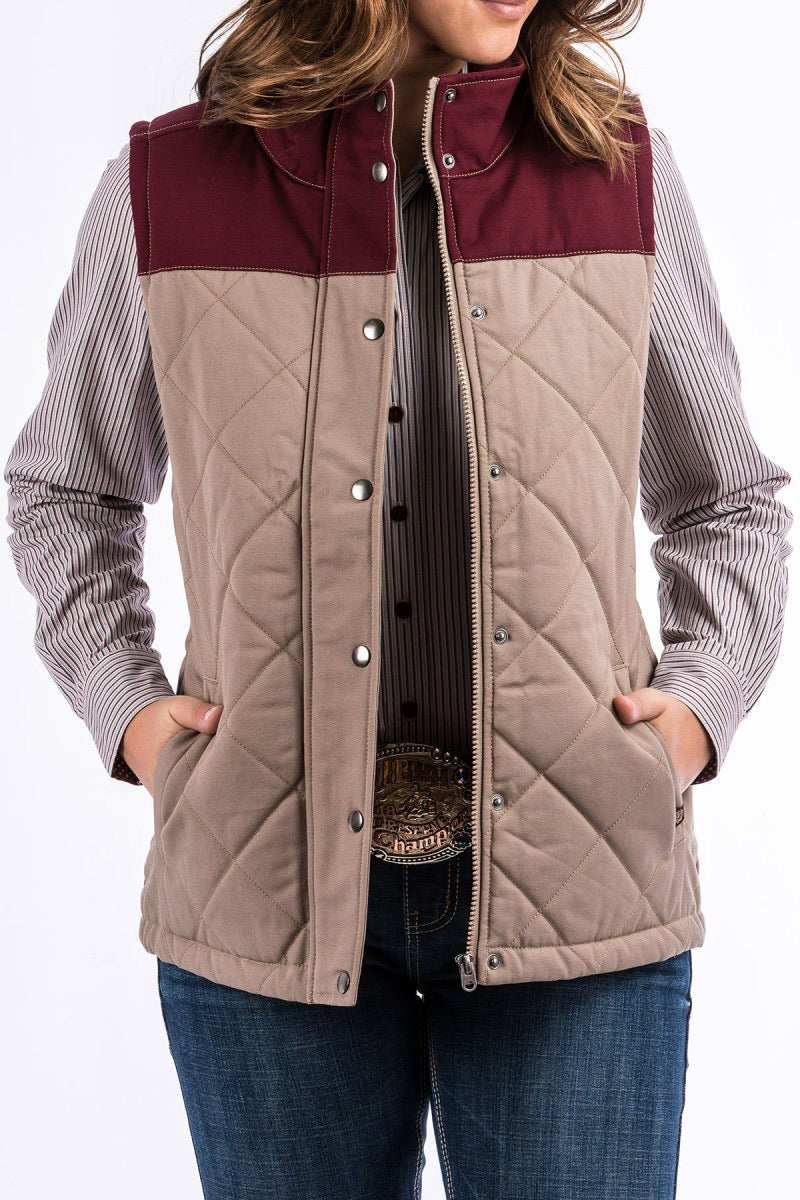 Women's Cinch Burgundy & Tan Quilted Canvas Vest
