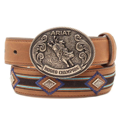 Kid's Ariat Bull Rider Concho Brown Leather Belt