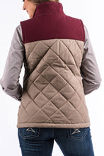 Load image into Gallery viewer, Women's Cinch Burgundy & Tan Quilted Canvas Vest